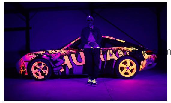 fluo porsche voiture pop graffiti